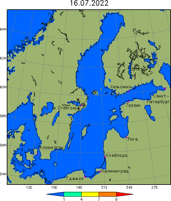 Карта сплочённости льда в Балтийском море