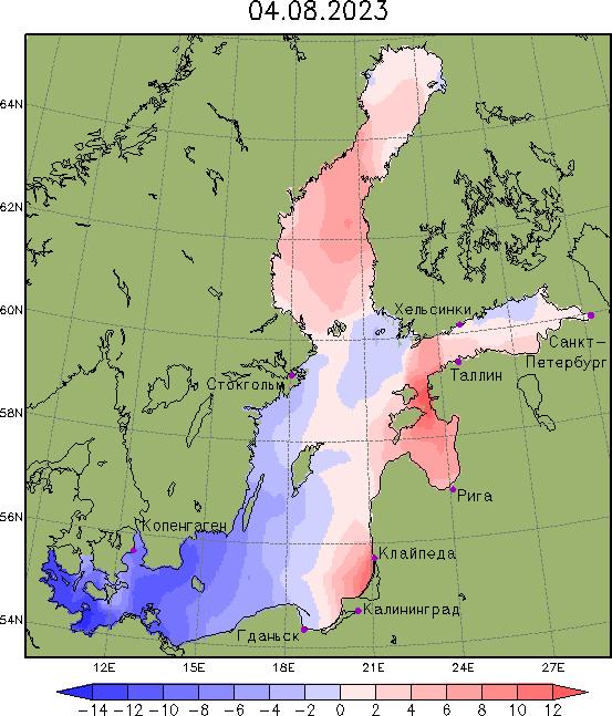 Карта аномалий уровня в Балтийском море