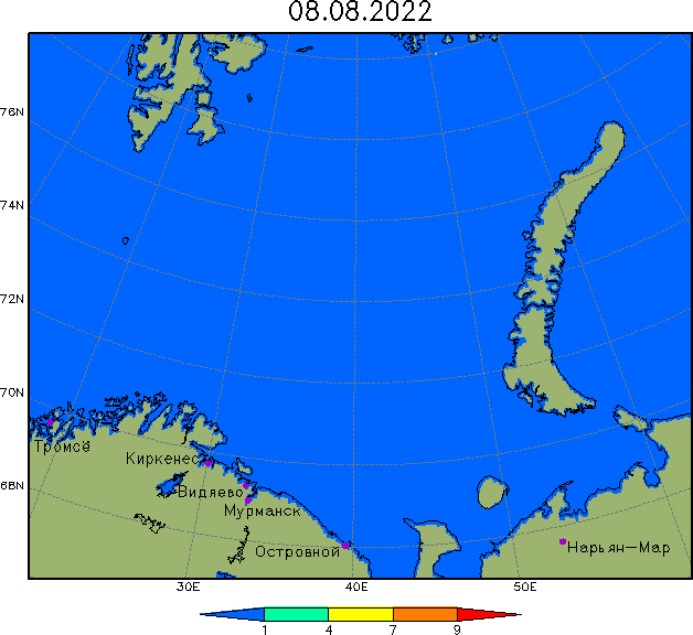 Ice map for the Barents Sea