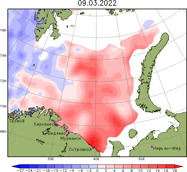 Карта аномалий уровня в Баренцевом море