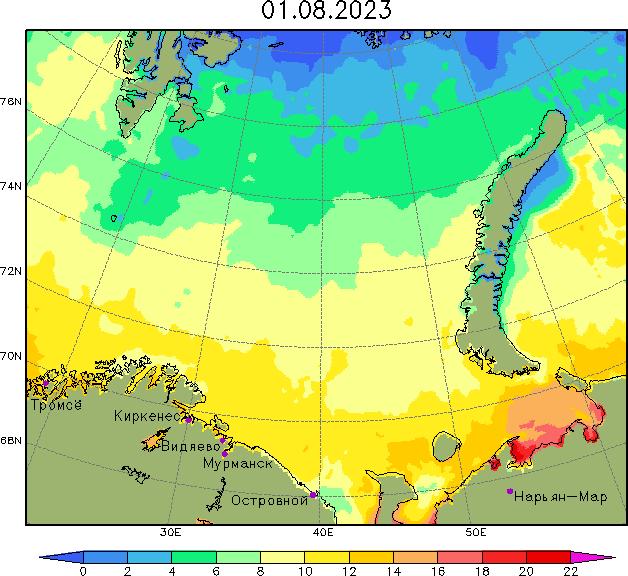 Карта температуры воды в Баренцевом море