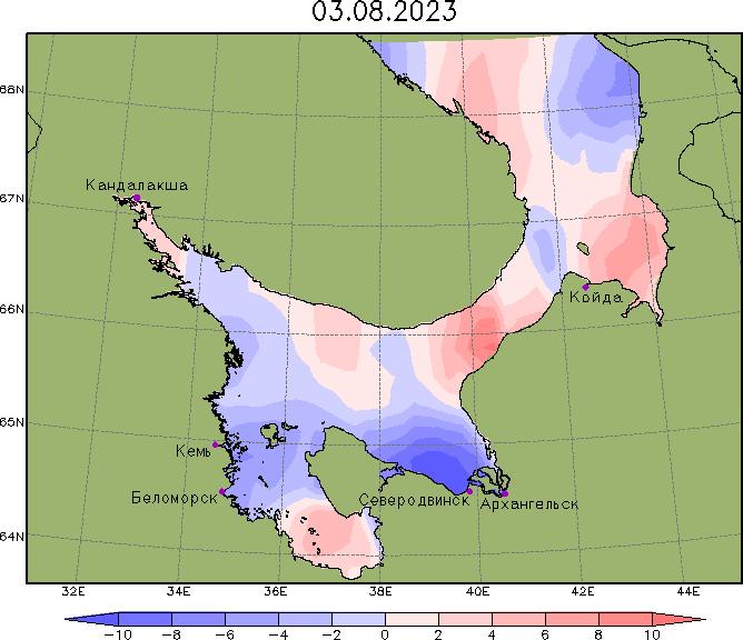 Карта аномалий уровня в Белом море