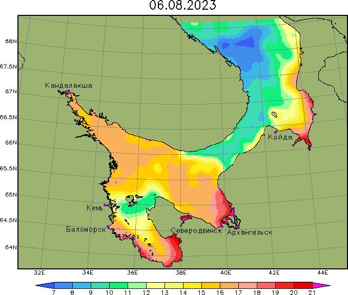 Карта температуры воды в Белом море