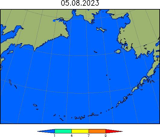 Карта сплоченности льда в Беринговом море