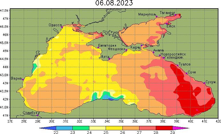 Карта температуры воды в Черном и Азовском море