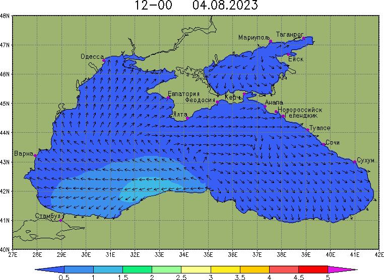 волнение высота направление волны воды в азовском черном море возле крыма на карте