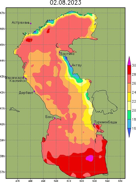Температура поверхности Каспийского моря