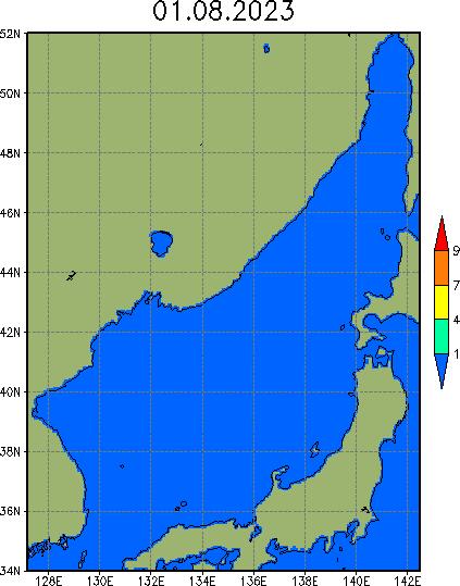 Карта сплоченности льда в Японском море