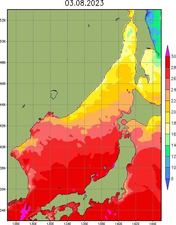 Температура поверхности Японского моря