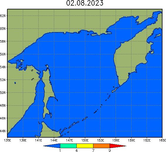 Карта сплоченности льда в Охотском море