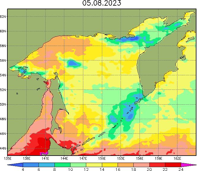 Карта температуры воды в Охотском море