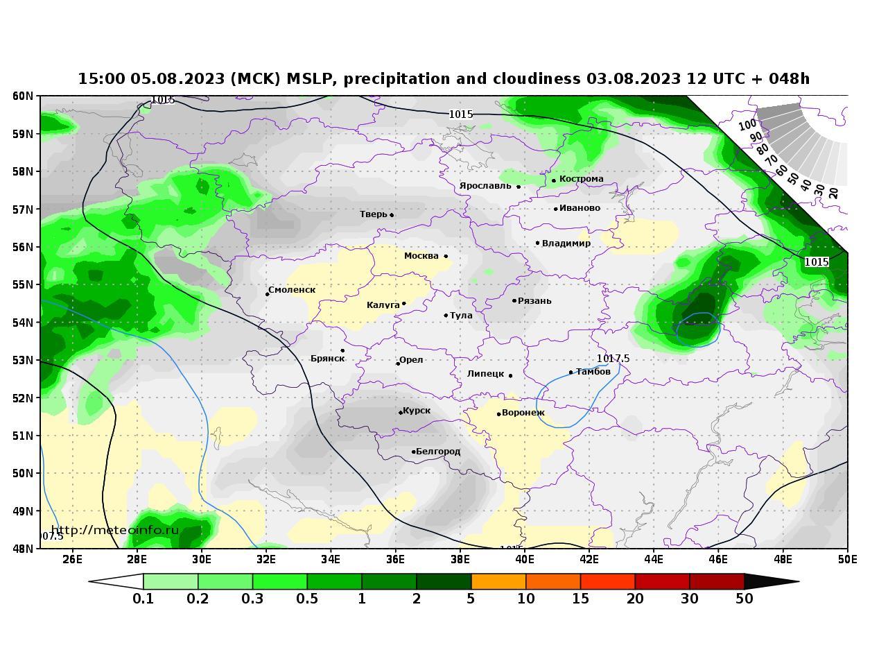 Центральный Федеральный округ, прогностическая карта осадки и давление, заблаговременность прогноза 48 часов