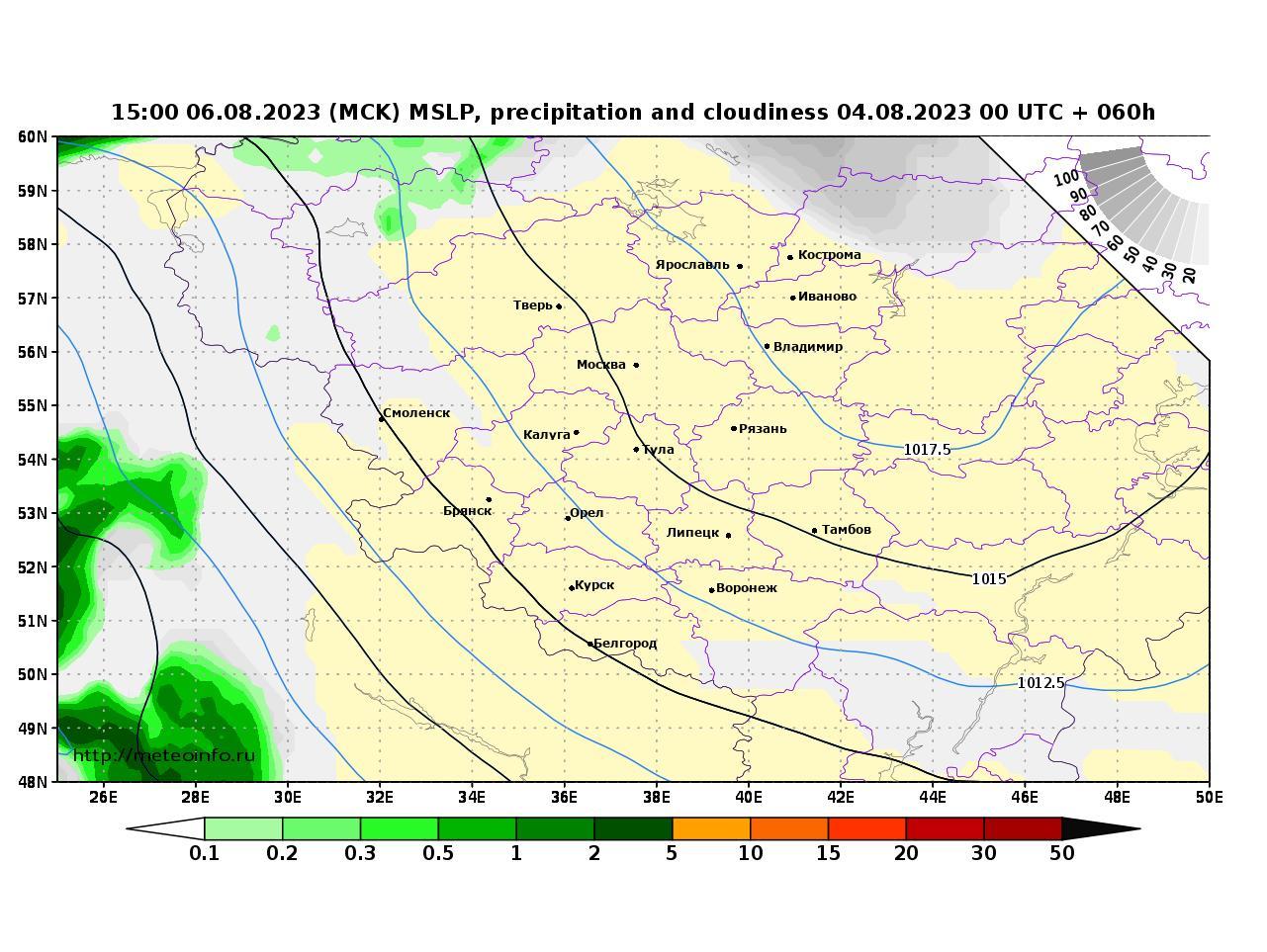 Центральный Федеральный округ, прогностическая карта осадки и давление, заблаговременность прогноза 60 часов
