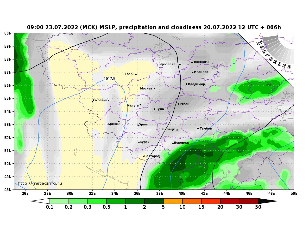Центральный Федеральный округ, прогностическая карта осадки и давление, заблаговременность прогноза 66 часов