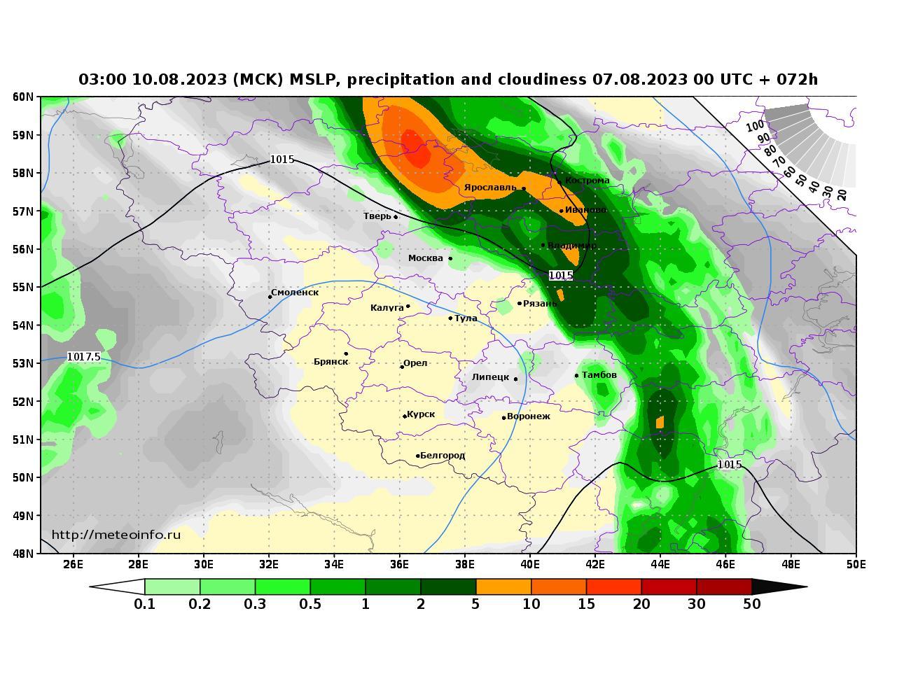 Центральный Федеральный округ, прогностическая карта осадки и давление, заблаговременность прогноза 72 часа