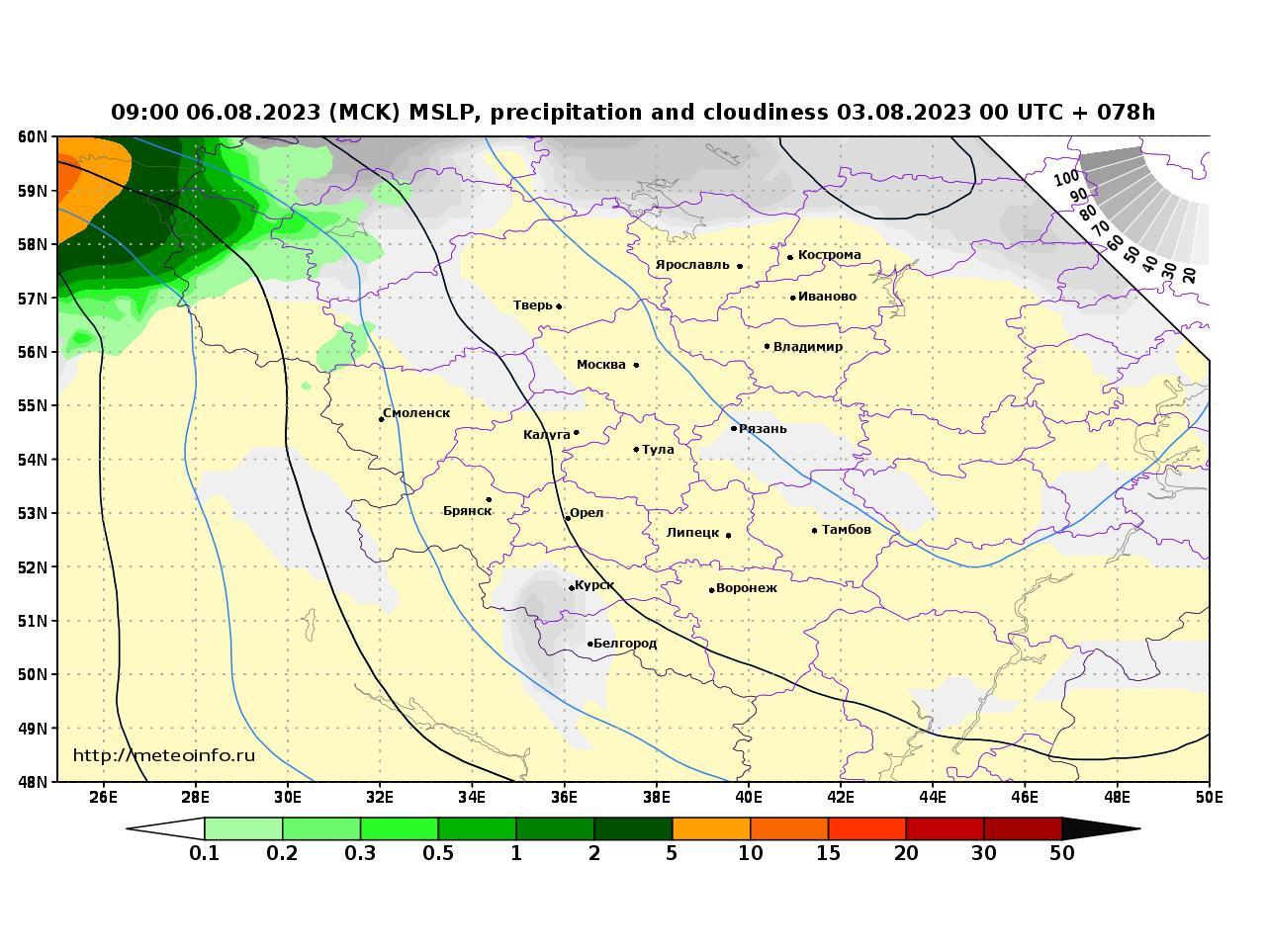 Центральный Федеральный округ, прогностическая карта осадки и давление, заблаговременность прогноза 78 часов