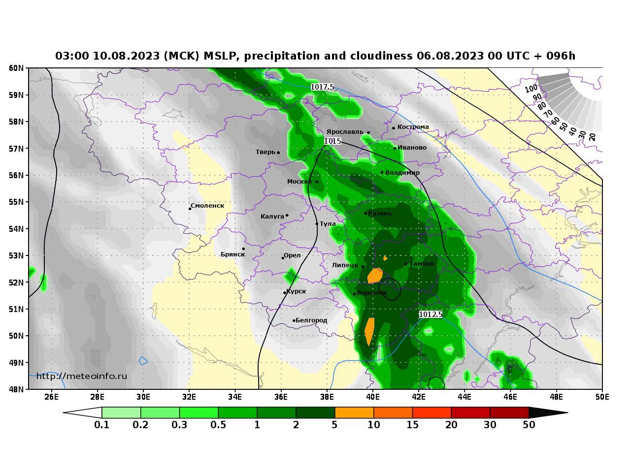 Центральный Федеральный округ, прогностическая карта осадки и давление, заблаговременность прогноза 96 часов