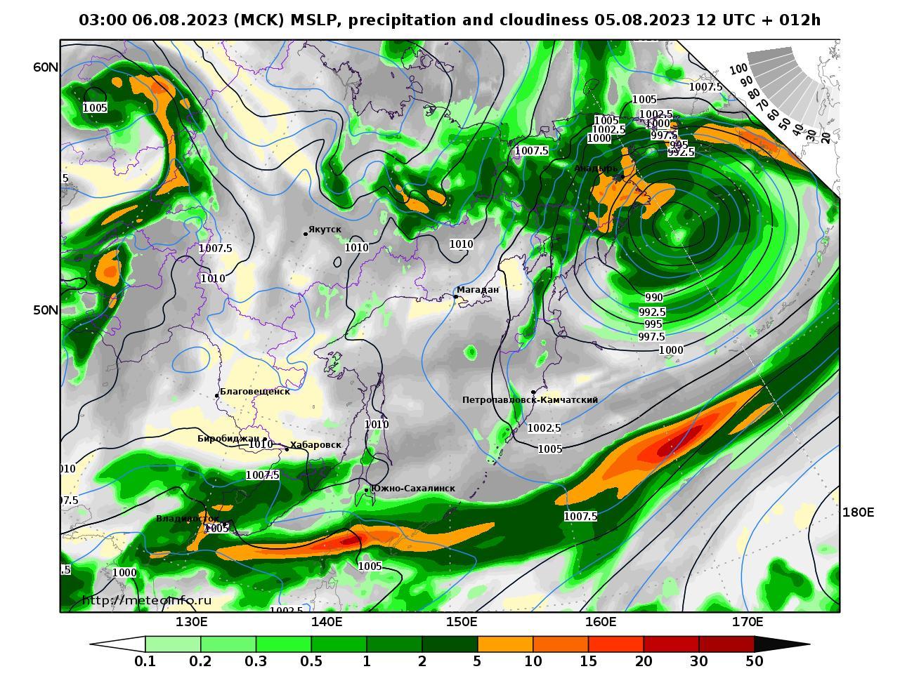 Дальний Восток, прогностическая карта осадки и давление, заблаговременность прогноза 12 часов