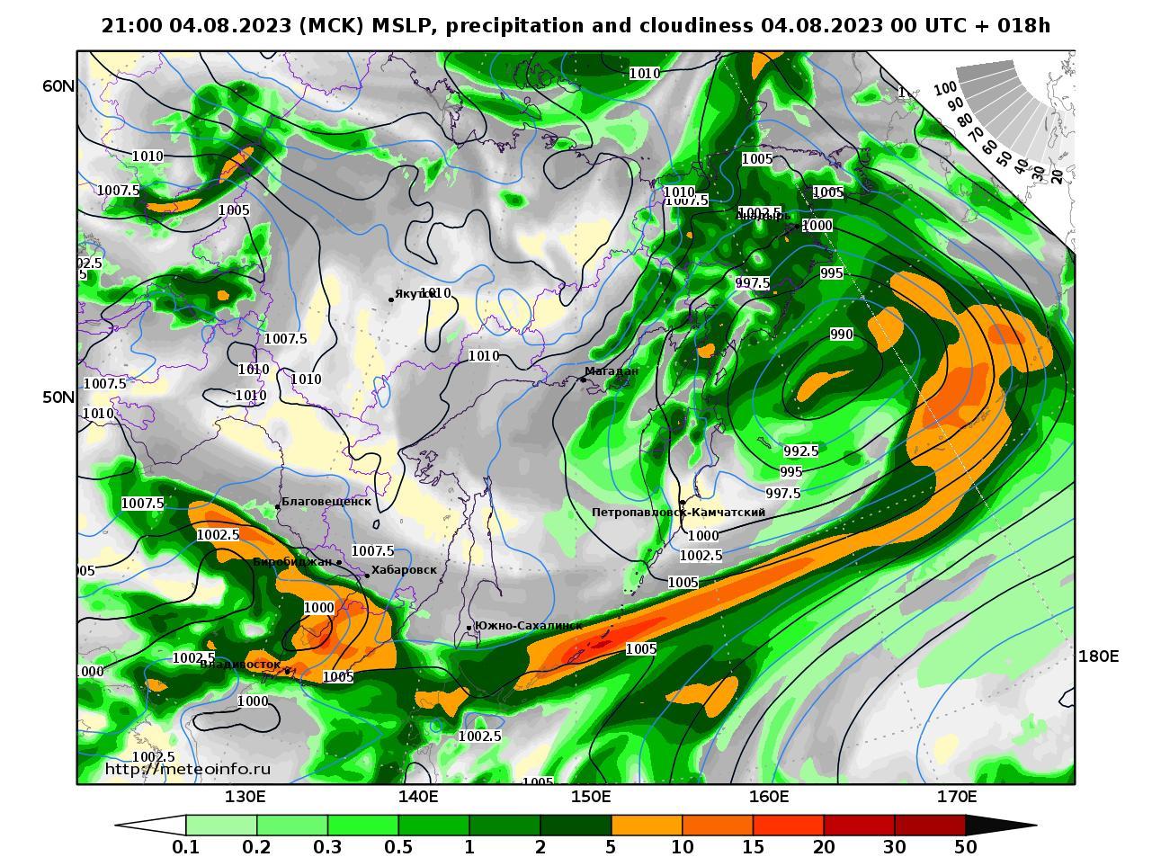 Дальний Восток, прогностическая карта осадки и давление, заблаговременность прогноза 18 часов
