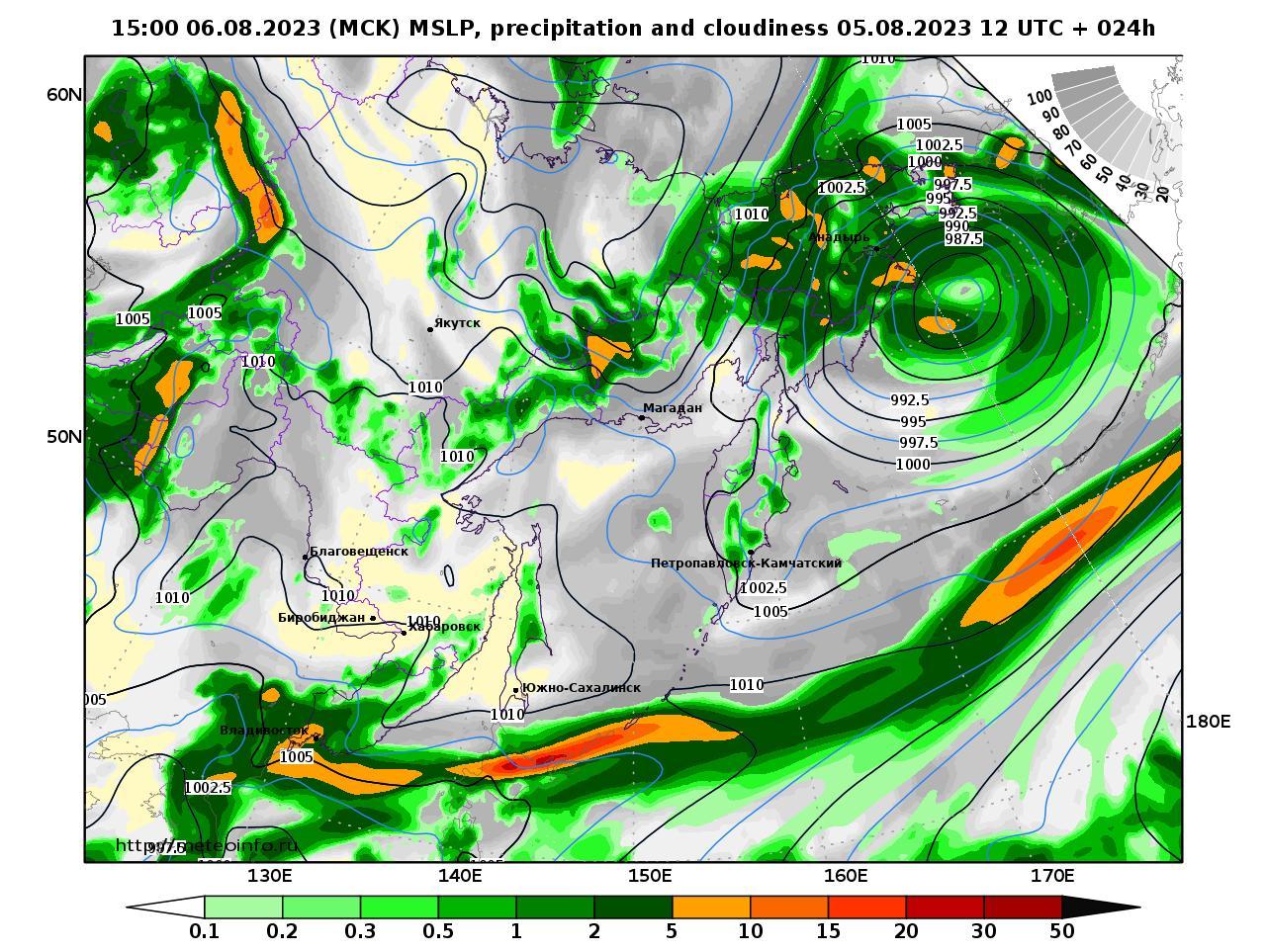 Дальний Восток, прогностическая карта осадки и давление, заблаговременность прогноза 24 часа