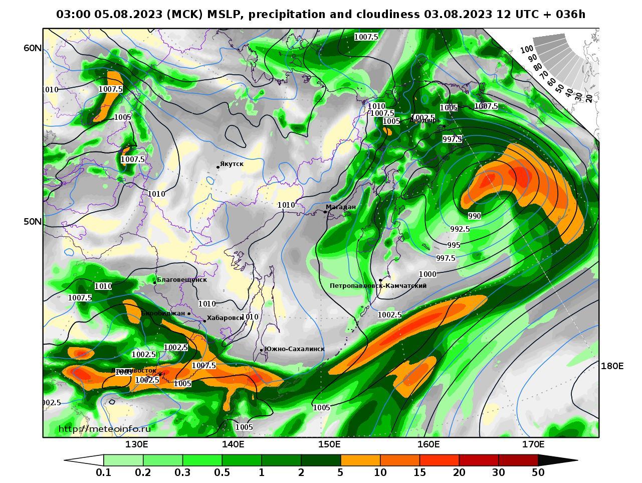 Дальний Восток, прогностическая карта осадки и давление, заблаговременность прогноза 36 часов