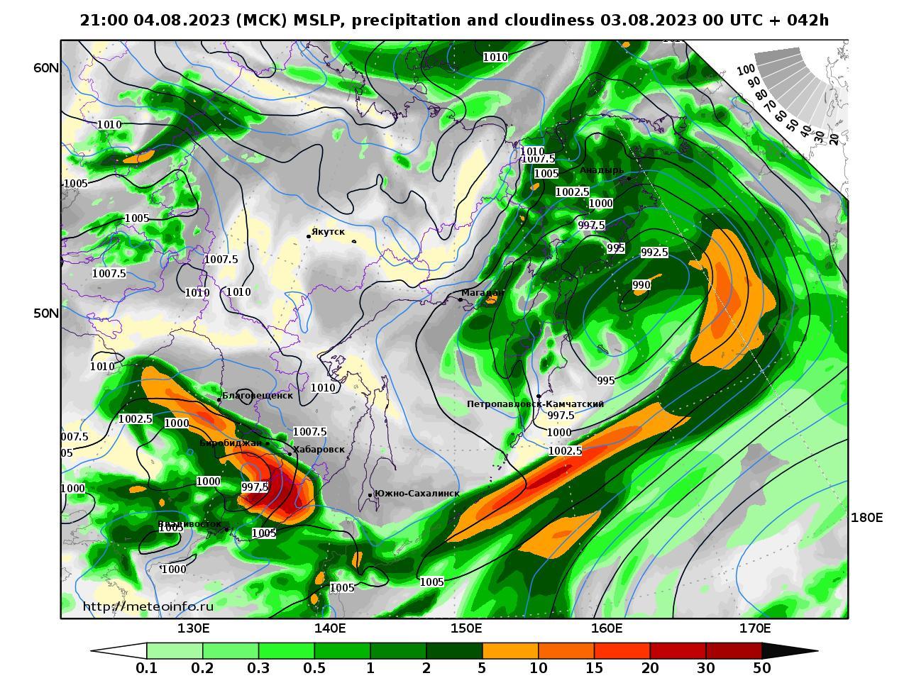 Дальний Восток, прогностическая карта осадки и давление, заблаговременность прогноза 42 часа