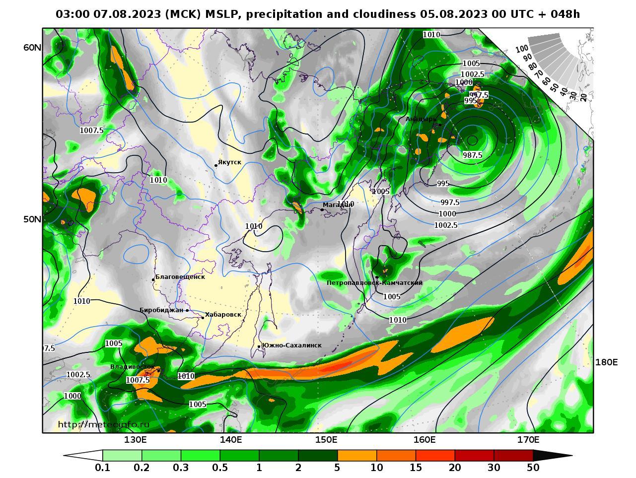 Дальний Восток, прогностическая карта осадки и давление, заблаговременность прогноза 48 часов