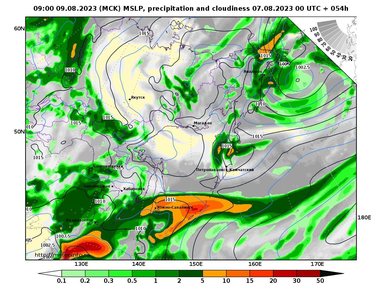 Дальний Восток, прогностическая карта осадки и давление, заблаговременность прогноза 54 часа