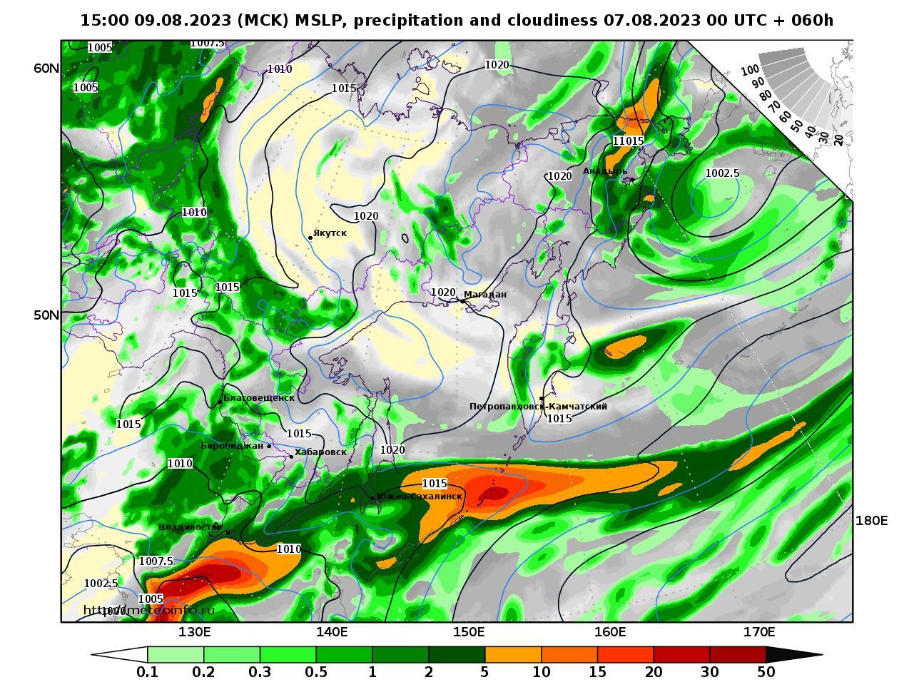 Дальний Восток, прогностическая карта осадки и давление, заблаговременность прогноза 60 часов