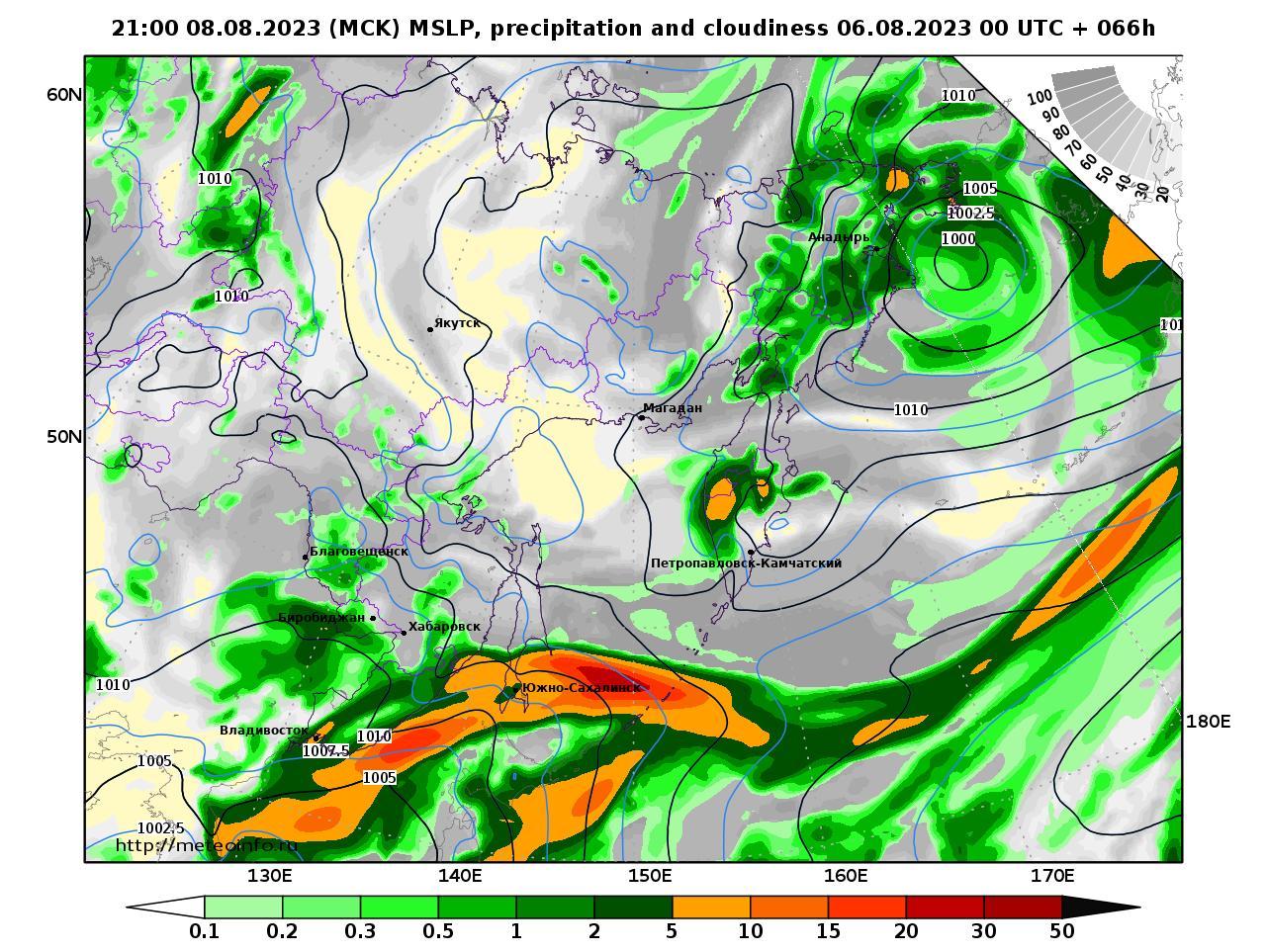 Дальний Восток, прогностическая карта осадки и давление, заблаговременность прогноза 66 часов