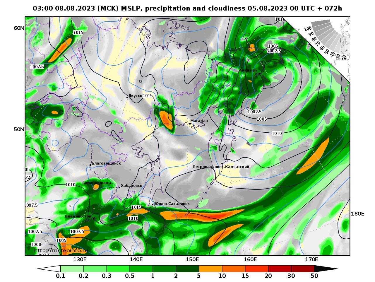 Дальний Восток, прогностическая карта осадки и давление, заблаговременность прогноза 72 часа