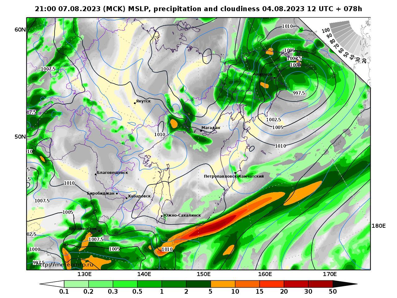 Дальний Восток, прогностическая карта осадки и давление, заблаговременность прогноза 78 часов