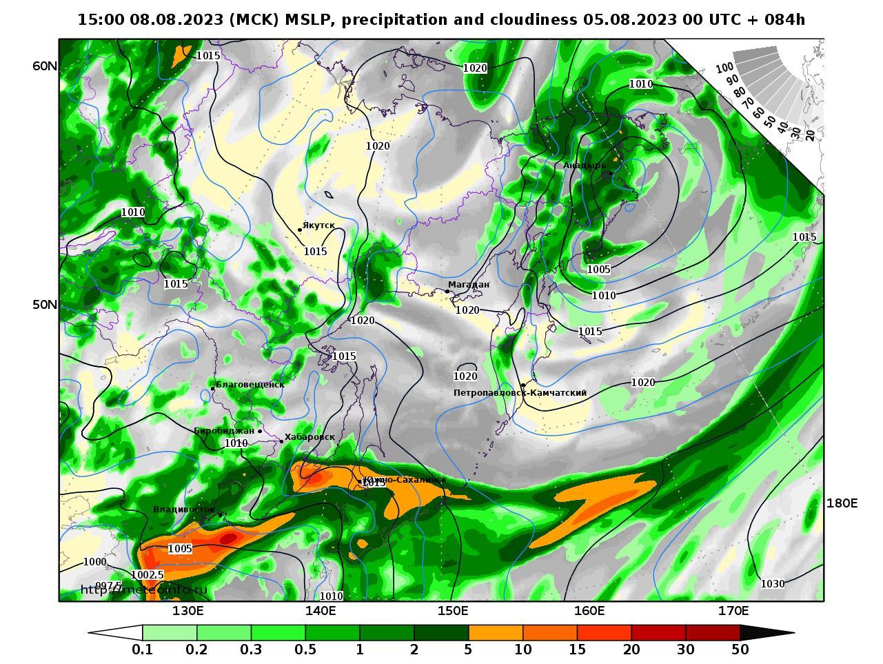 Дальний Восток, прогностическая карта осадки и давление, заблаговременность прогноза 84 часа