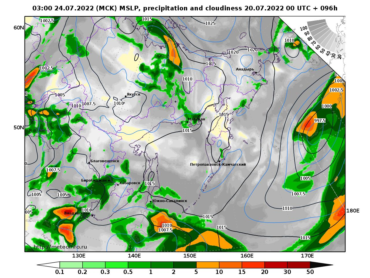 Дальний Восток, прогностическая карта осадки и давление, заблаговременность прогноза 96 часов