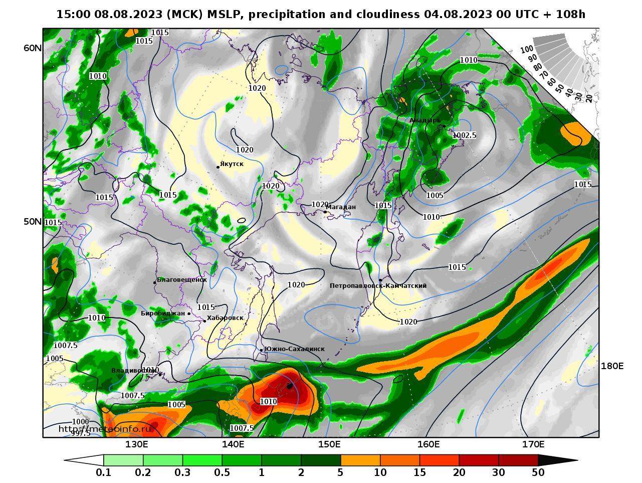 Дальний Восток, прогностическая карта осадки и давление, заблаговременность прогноза 108 часов