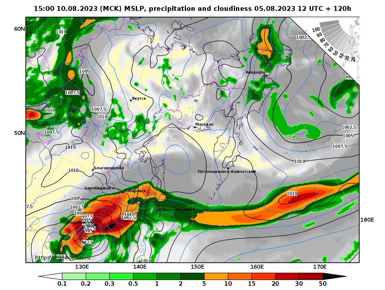 Дальний Восток, прогностическая карта осадки и давление, заблаговременность прогноза 120 часов