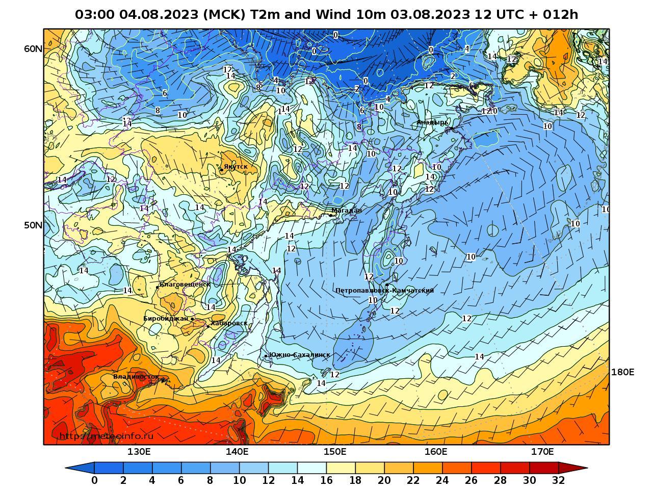 Дальний Восток, прогностическая карта приземная температура, заблаговременность прогноза 12 часов