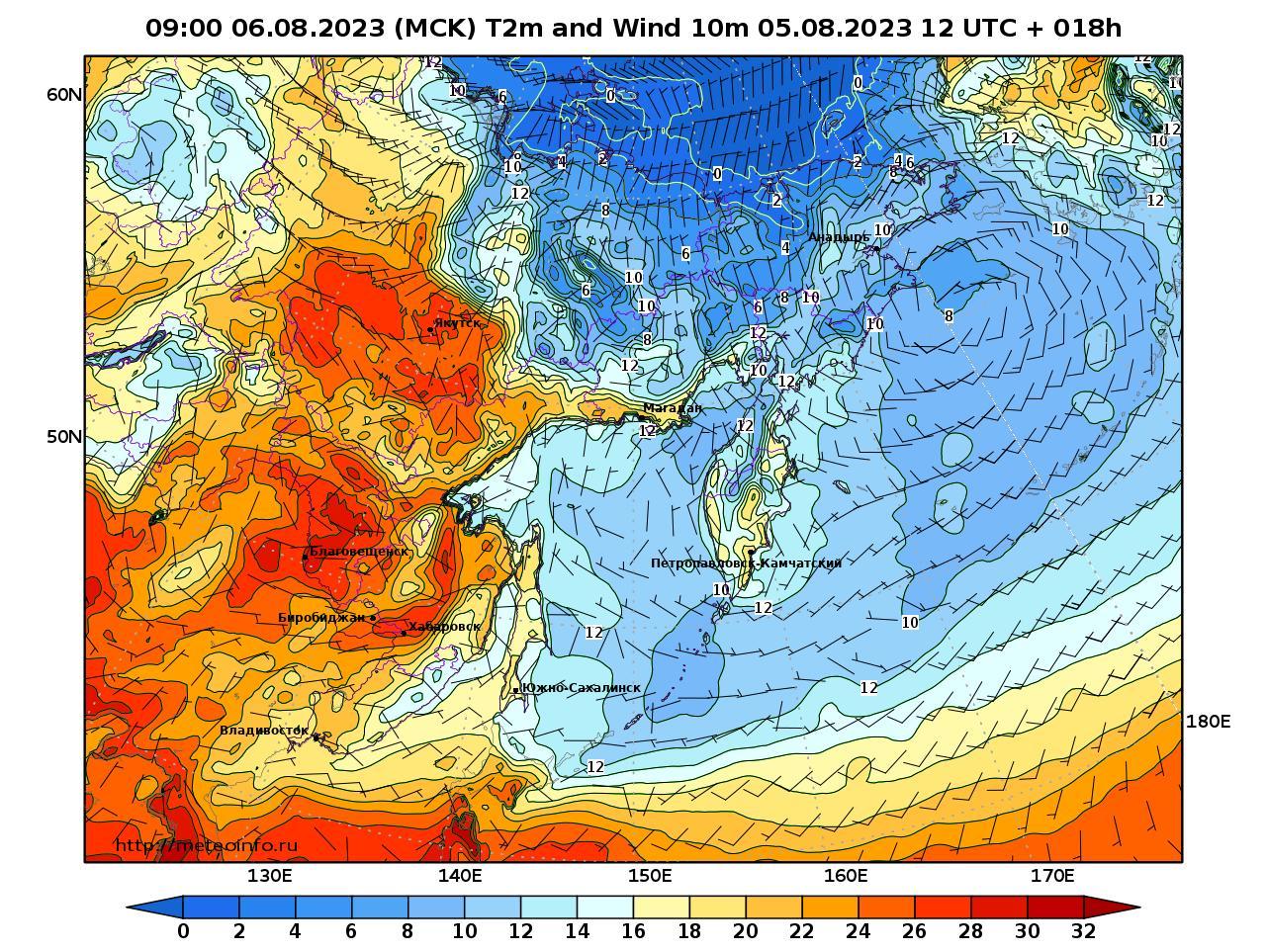 Дальний Восток, прогностическая карта приземная температура, заблаговременность прогноза 18 часов