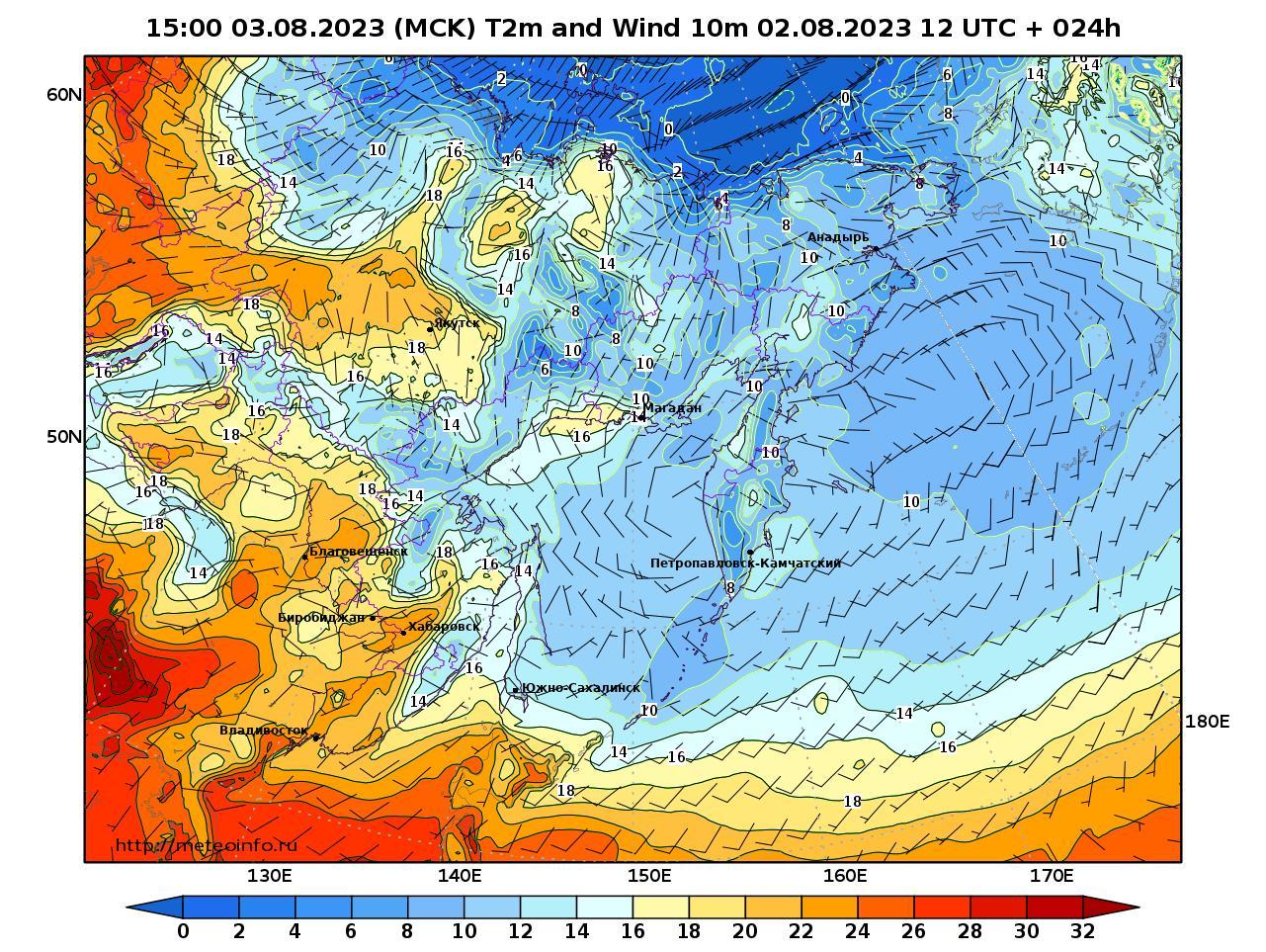 Дальний Восток, прогностическая карта приземная температура, заблаговременность прогноза 24 часа