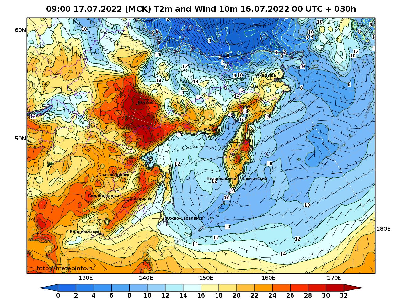 Дальний Восток, прогностическая карта приземная температура, заблаговременность прогноза 30 часов