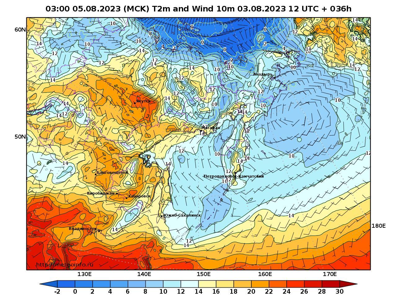 Дальний Восток, прогностическая карта приземная температура, заблаговременность прогноза 36 часов
