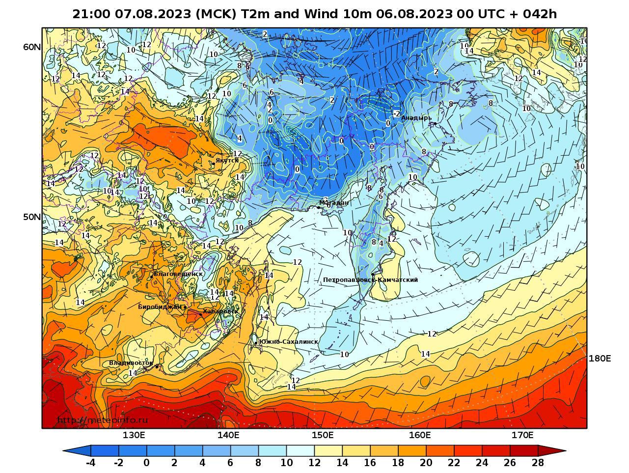 Дальний Восток, прогностическая карта приземная температура, заблаговременность прогноза 42 часа