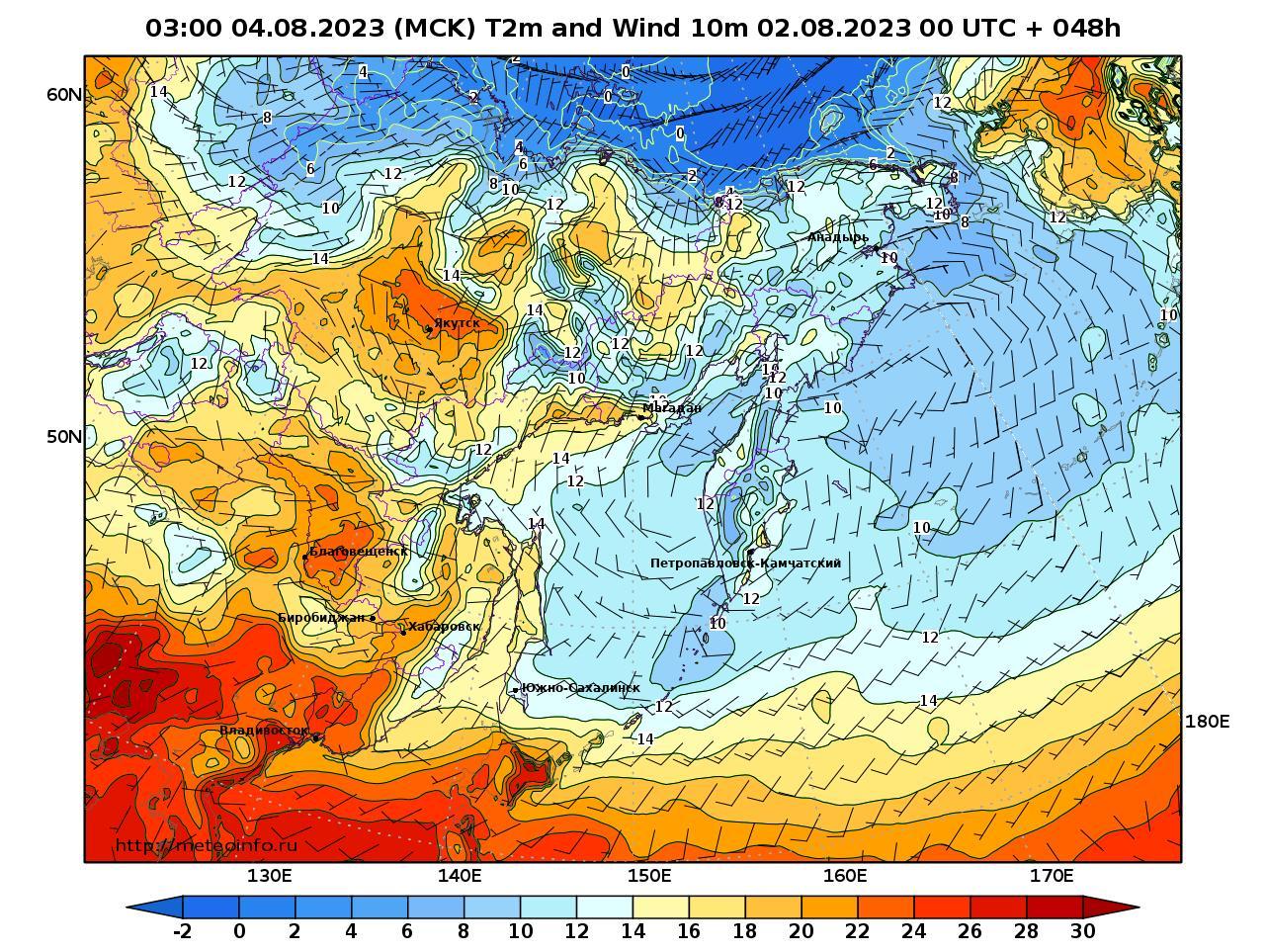 Дальний Восток, прогностическая карта приземная температура, заблаговременность прогноза 48 часов