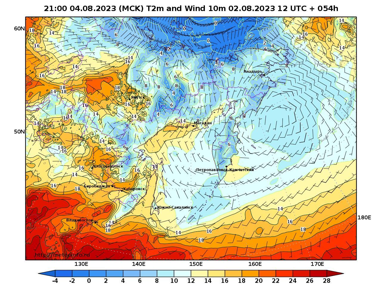 Дальний Восток, прогностическая карта приземная температура, заблаговременность прогноза 54 часа