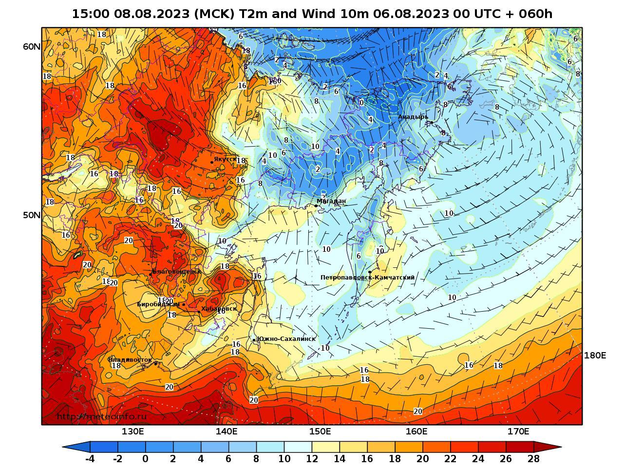 Дальний Восток, прогностическая карта приземная температура, заблаговременность прогноза 60 часов