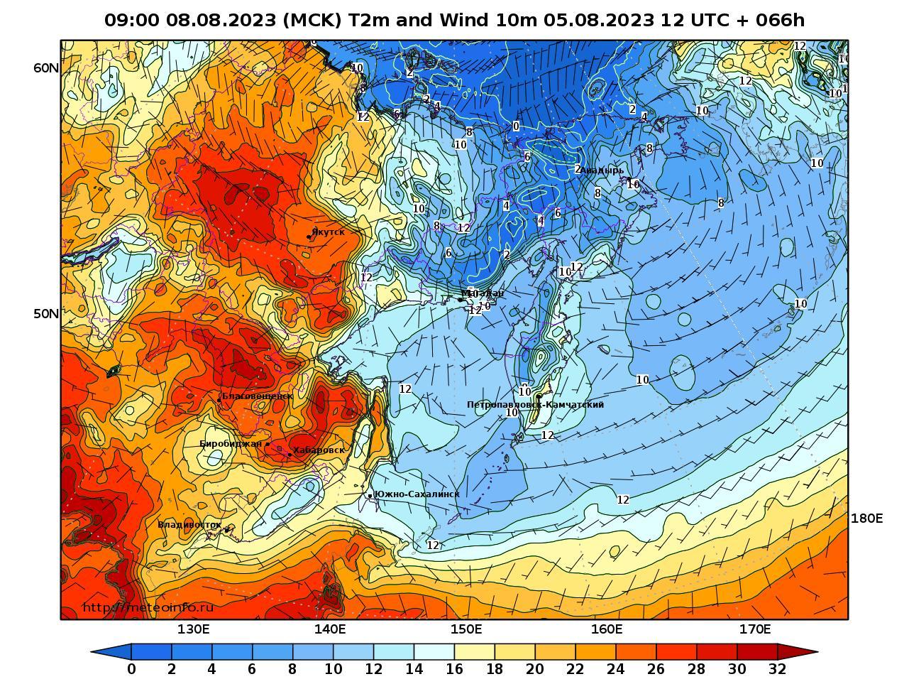 Дальний Восток, прогностическая карта приземная температура, заблаговременность прогноза 66 часов