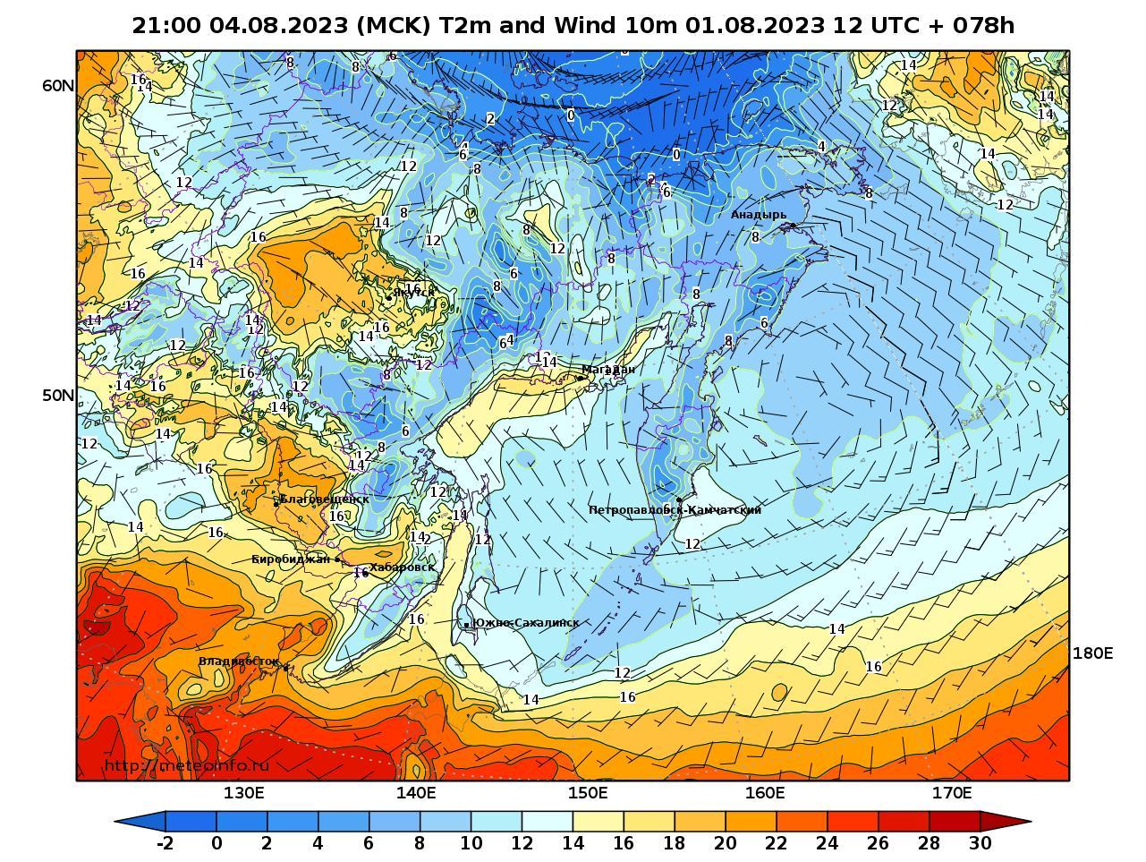 Дальний Восток, прогностическая карта приземная температура, заблаговременность прогноза 78 часов