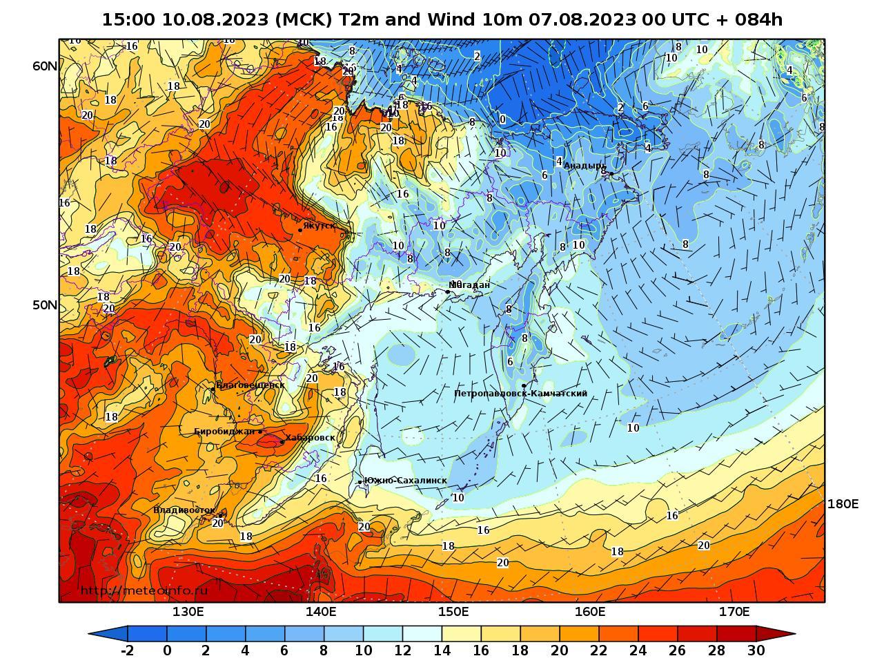 Дальний Восток, прогностическая карта приземная температура, заблаговременность прогноза 84 часа