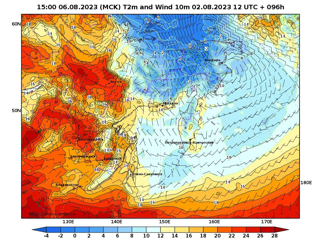 Дальний Восток, прогностическая карта приземная температура, заблаговременность прогноза 96 часов