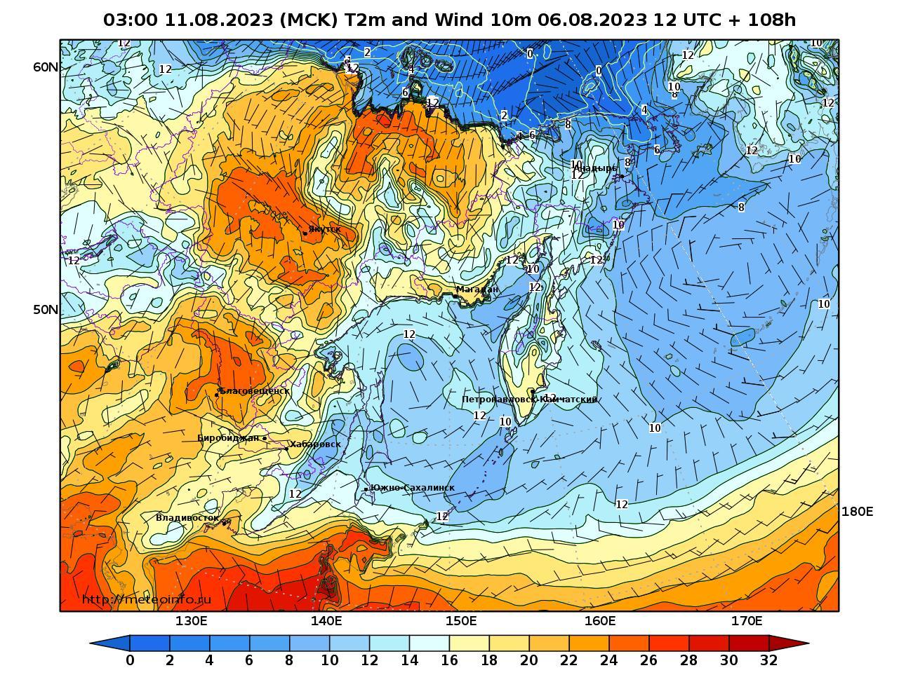 Дальний Восток, прогностическая карта приземная температура, заблаговременность прогноза 108 часов